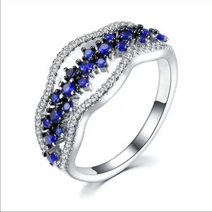New Romantic Valentine's Day silver blue cz ring